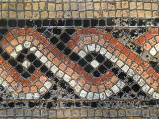 Dionysosmosaik Köln #3 - Mosaik, Römer, römisch, Antik, Medaillons, Dionysos, Jahreszeiten, Früchte, Tiere, Fußboden, Wiederholung, Serie, Bordüre, Umrandung