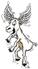 Fliegeziege - fliegen, Ziege, Märchen, Tier, Engel, Metamorphose, Erzählanlass, Redeanlass, Schreibanlass, Fee, Hexe, Flügel, Comic, Cartoon, Illustration