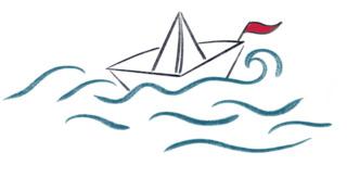 Papierschiff - falten, papier, Schiff, Faltung, Origami, Faltarbeit, Wasser, Boot, Wellen, Schiffchen, spielen