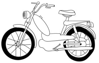 Mofa - Mofa, fahren, Verkehr, Verkehrsmittel, Fortbewegung, Rad, Zweirad, Räder, Lenker, bewegen, rollen, Motor, Anlaut M
