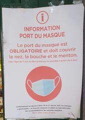 Information  Port du masque - information, masque, port du masque, obligatoire, nez, bouche, menton