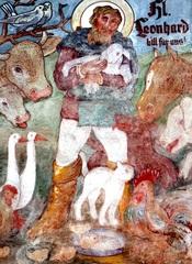 Hl. Leonhard - Heiliger der Bauern, Wandmalerei, Fassadenmalerei, Kunst, Maltechnik