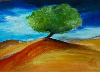 Aquarell Klasse 9 - Wüste, Klasse 9 Kunstunterricht, Thema Einsamkeit, Farbübergänge