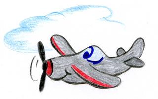 Flugzeug - Flugzeug, Flieger, fliegen, Anlaut F, fröhlich, Humor, Illustration, Wörter mit eu