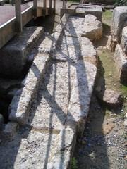 Palast von Knossos-Wasserleitung - Knossos, Kreta, Griechenland, minoische Kultur, Ruinen, Wohnbereich, Wasserleitung, Ruinen, Steine, Struktur