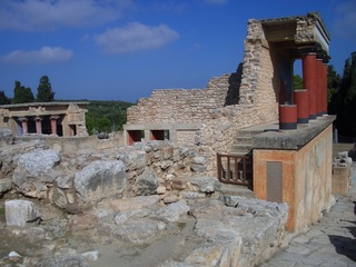 Palast von Knossos (3) - Knossos, Kreta, Griechenland, minoische Kultur, Nordpropylon, Eingang, Säulen, Ruinen, Mauer