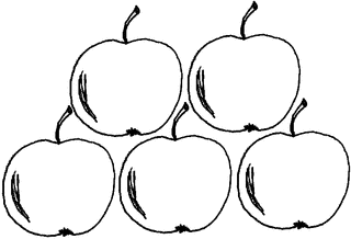 Apfel Menge 5 - Apfel, Mengenbild, fünf, Anlaut A