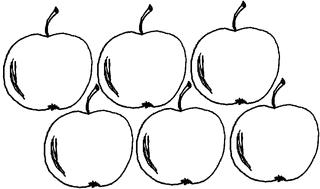 Apfel Menge 6 (1) - Apfel, Mengenbild, sechs, Anlaut A