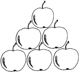 Apfel Menge 6 (2) - Apfel, Mengenbild, sechs, Anlaut A