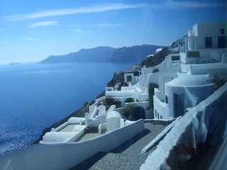 Caldera von Santorini - Santorini, Griechenland, Mittelmeer, Vulkan, Caldera, weiße Häuser, Hanglage, Farbwirkung, blau