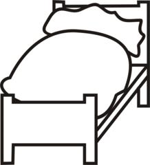 Bett - Bett, schlafen, müde, Anlaut B, Tuchent, Polster, Decke, Möbel, Möbelstück