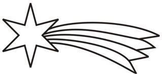 Stern mit Schweif - Stern, Schweif, Komet, Himmelskörper, Weihnachten, strahlen, hell, Anlaut St, Weihnachtsstern, leuchten, glänzen, Illustration