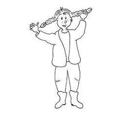 Ausmalbild Thema Herbst bzw. Kleidung - Mädchen, Kind, Zöpfe, Herbst, Kleidung, Ausmalbild, Nebelbild, Anlaut M, Anlaut K