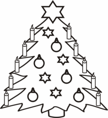 Christbaum - Christbaum, Weihnachtsbaum, Kugeln, Sterne, Kerzen, Weihnachtsstern, Tanne, Tannenbaum, Weihnachten, Anlaut C, schmücken, Heiligabend