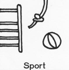Piktogramm Sport - Piktogramm_Stundenplan, Sport, klettern, Seil, Ball, Kletterwand, Sprossenwand