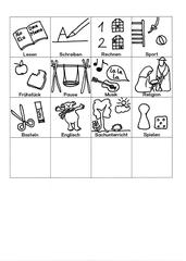 Piktogramme für den Stundenplan - Lesen, Schreiben, Rechnen, Sport, Frühstück, Pause, Musik, Religion, Basteln, Englisch, Sachunterricht, Spielen, Piktogramm_Stundenplan