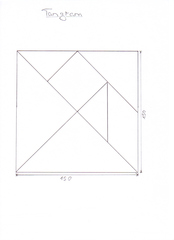 Tangram - Holz, Spiel, Puzzle, Laubsägearbeit, Legespiel, Geduldspiel, Plättchen, geometrische Form, Dreieck, Quadrat, Parallelogramm, Tangram