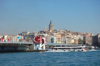 Istanbul - Eminönü - Blick nach Beyoglu und zum Galata-Turm - Türkei, Istanbul, Osmanisches Reich, Islam, Religion, Weltreligion, Geschichte, Galata-Turm, Kegel