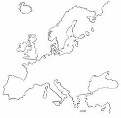 Europa-Umrisskarte - Zeichnung - Europa, Landkarte, Umriss, Karte, map, Europe, Mitteleuropa
