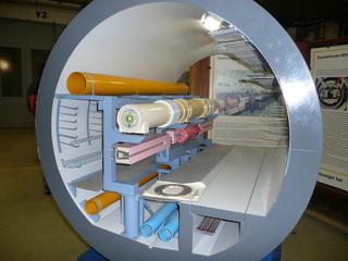 Modell des Hera-Ringes - Physik, Teilchenbeschleuniger, Magnetismus, HERA, DESY, Tunnel, Forschung, Elektronen, Positronen, Ablenkung, Beschleunigung, Modell