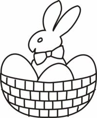 Osternest - Osternest, Osterhase, Ostereier, Osterkorb, Osterkörbchen, Korb, Hase, Nest, Eier, Ostern, Anlaut O