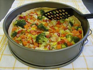 Gemüsequiche #1  - Gemüsequiche, Quiche, vegetarisch, Gemüse, Teigboden, vorgebacken, Backform, Springform, Bratenwender