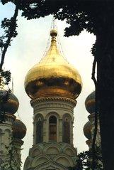 Turm der russischen Kirche in Karlsbad / Tschechien - Kirche, russisch, Zwiebelturm, Gold, Turm