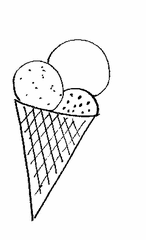 Eistüte - Eis, Eistüte, Kugel, Eiskugel, Bällchen, Waffel, schlecken, Sommer, Anlaut Ei