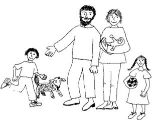 Familie - Familie, Vater, Mutter, Eltern, Erzeuger, Junge, Sohn, Mädchen, Tochter, Baby, Säugling, Nachwuchs, Kinder, Hund, Haustier, Papa, Mama, Anlaut F, Verwandtschaft, verwandt, Generation