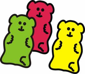 Gummibären - Gummibären, Gummibär, Gummibärchen, Süßigkeiten, süß, Mehrzahl, drei, Menge, rot, gelb, grün, Anlaut G, Bär, Weingummi