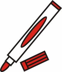 Filzstift rot - Filzstift, Filzstifte, Einzahl, Filzer, Stift, malen, ausmalen, zeichnen, rot, schreiben, Anlaut St