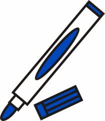 Filzstift blau - Filzstift, Filzstifte, Einzahl, Filzer, Stift, malen, ausmalen, zeichnen, blau, schreiben, Anlaut St
