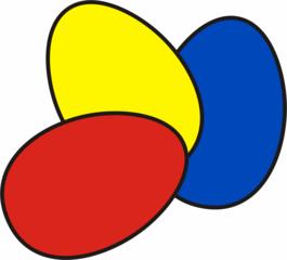 bunte Ostereier - Ei, Eier, Osterei, Ostern, drei, Menge, Mehrzahl, bunt, farbig, rot, blau, gelb, Anlaut Ei, Anlaut O