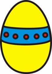 buntes Osterei 1 - Ei, Eier, Osterei, Band, Muster, Ostern, Punkte, gelb, blau, Anlaut Ei, Anlaut O
