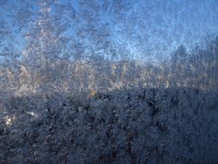 Eisblumen am Fenster - Winter, Raureif, Kristalle, kalt, Reif, Niederschlag, Scheibe, Fensterscheibe, fest, Luftfeuchtigkeit, nadelförmig, Kristall, Wetter, bizarr, Resublimation, Eis, Eisblumen, Sonne, weiß, blau, Himmel, Wärmedämmung, Physik