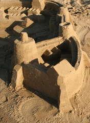 Sandburg - Sandburg, Spiel, Urlaub, Kreativität, Burg, Sand, Wasser, bauen, Strand, Meer