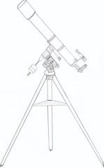Ein gezeichnetes Teleskop - Teleskop, Refraktor, Fernrohr, Optik, Sterne, Sternbilder, Galaxie, Nebel, Sonne, Mond, Weltall, Weltraum, sehen, beobachten, Nacht, wolkenlos, Linsen, Abbildung, Lichtbrechung, Brechung, Physik, Standfestigkeit, Schwerpunkt