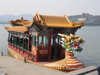 China - Drachenboot - China, Peking, Boot, Drachenboot, See, Bemalung, Schnitzarbeiten, Drachenkopf