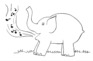 Elefant 4 - Elefant, singen, Noten, Lied, Musik, Illustration, schwer