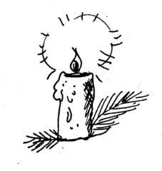 Adventskerze - Advent, Kerze, Weihnachten, Tannenzweig, Flamme, Feuer, Wachs, brennen, Licht, heiß, hell, leuchten, Lichtquelle, warm, tropfen, fließen, hell, Anlaut K, Illustration, Wörter mit v, Wörter mit z