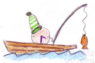 Herr Ticktack - Uhren und Tätigkeit #8 - angeln, Angel, Boot, See, Freizeit, Uhrzeit, Uhr, Zeit, Tagesablauf, Fischer, fischen