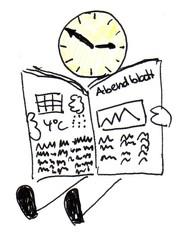 Herr Ticktack Uhrzeit und Tätigkeit 13 - Zeitung, lesen, Freizeit, Uhrzeit