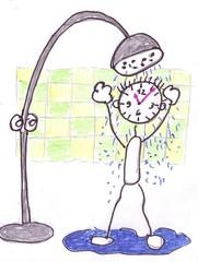 Herr Ticktack - Uhren und Tätigkeit#19 - Uhr, Uhrzeit, duschen, Dusche