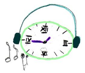 Herr Ticktack - Uhren und Tätigkeit#20 - Musik, hören, Noten, Uhr, Uhrzeit, Freizeit, Hobby