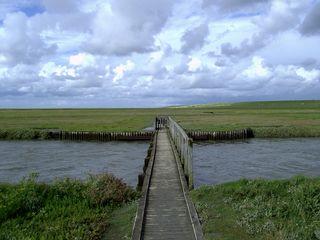 Ein Priel im Marschland - Priel, Marschland, Nordsee, Deich, Steg, Wolken, Himmel, Weg, Perspektive, Tiefenwirkung, Salzwiesen