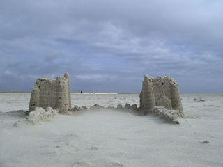 Sandburg - Sandburg, Sand, Meer, Nordsee, Strand, bauen, Wasser