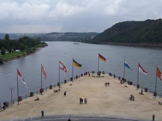 Deutsches Eck - Deutsches Eck, Rhein, Mosel, Koblenz, Fahne, Fluss