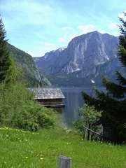 Die Hütte am Altaussee - Österreich, Hütte, Felswand, See, Altaussee, Steiermark, Trisselwand, Alpen