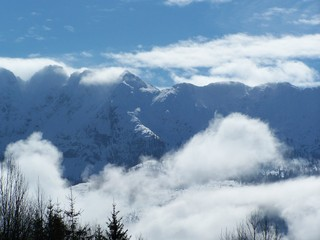 Die Felszacken des Grimming - Grimming, Fels, Stein, Nebel, Gebirge, Berg, Alpen, Wolke, blau, Steiermark, Horizont, Wolke, blau