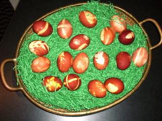 Ostereier - Eier, Ei, Ostern, färben, Zwiebelschale, Osterei, Verzierungen, Osternest, Naturfarben, achtzehn, viele